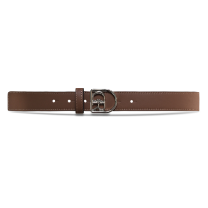 Men leather belt with silver cr buckle