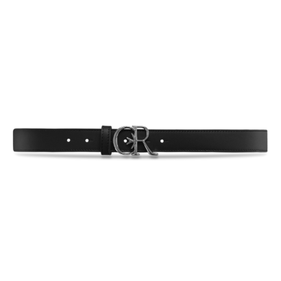 Leather belt with silver cr buckle