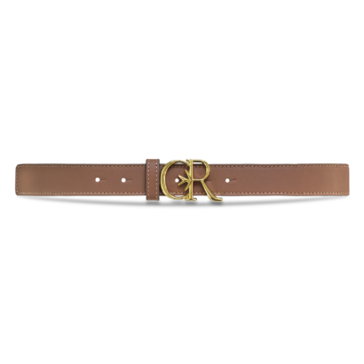 Leather belt with gold cr buckle