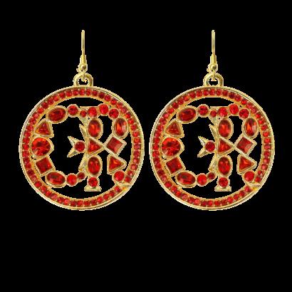 Cr round logo earrings