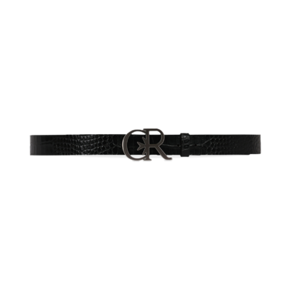 Croc leather belt with silver cr buckle