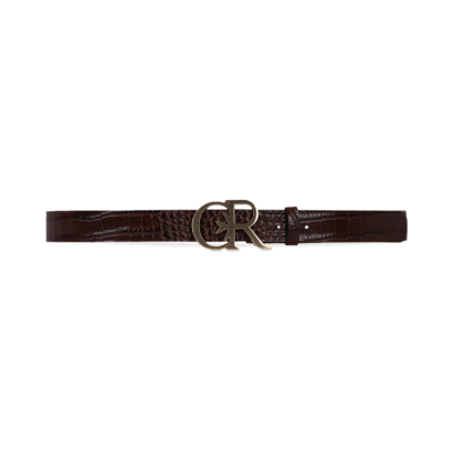 Croc leather belt with gold cr buckle
