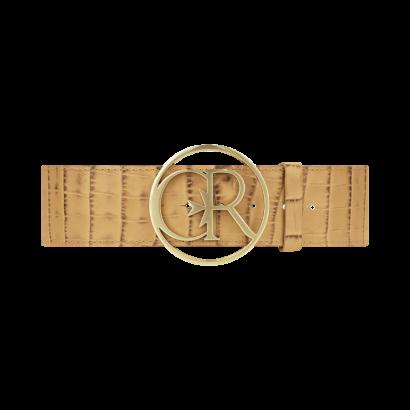 Croc leather round buckle waist belt