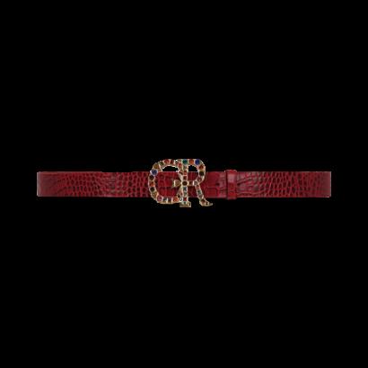 Croc leather belt with embellished cr buckle