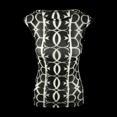 Short sleeve net top double logo print
